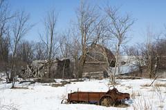 rural monuments (Barbara A. White) Tags: winter snow ontario canada landscape barns dilapidated farmequipment woodlawn arnprior