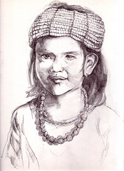 little girl wearing beads_lr (chi.ilpleut) Tags: 2004 pencils asia personal native south drawings tribal east sarawak malaysia borneo watercolour hobbies sketches cultural iban oldworks