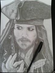 Jack Sparrow - Johnny Depp (Giovana Draw/ ) Tags: portrait white black illustration pencil jack sparrow draw graphite desenho grafite realista