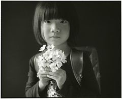 HANA (Tamakorox) Tags: family shadow portrait art love film girl japan japanese lights asia fuji kodak daughter  enter tmax400 satchel bw pleasure     analoguecamera    mamiyarb67prosd
