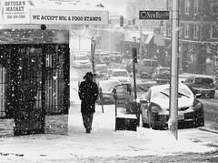 urban cowboy - b/w version (t55z) Tags: street snow massachusetts cowboyhat worcester