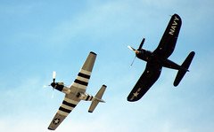 Vintage Fighters on a Sunny Day (California Will) Tags: navy corsair mustang 1945 p51 armyaircorps f4u vought