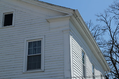 Cornice Return, Enos Michael House  Fremont, Indiana (Pythaglio) Tags: county wood blue trees windows sky house greek michael indiana frieze fremont 66 historic return frame siding residence capitals cornice architrave dwelling revival steuben entablature enos pilasters braced ca1850