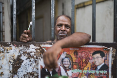 Good Morning! (AvikBangalee) Tags: portrait people smile poster gate lifestyle caged toothpaste portraiture dhaka toothbrush goodmorning bangladesh politicalcampaign avikbangalee peopleandliving