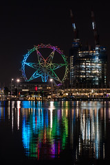 Melbourne Star (GayanDeSilva) Tags: water wheel night observation star rainbow dock colours australia melbourne victoria docklands