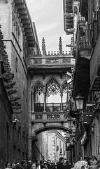 Casa Canons neo-Gothic bridge_DSC1919 (Mel Gray) Tags: barcelona bridge blackandwhite architecture streetphotography neogothic gothicquarter casacanons