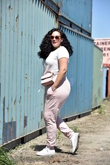 Casual (GirlWithCurves) Tags: pink blush curlyhair joggers plussize springfashion plussizefashion springstyle casualstyle plussizestyle taneshaawasthi