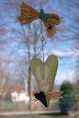 Easter heart (I) (dididumm) Tags: white green easter heart handmade sewing jeans fabric denim grn ostern tilda weiss herz easterbunny selbstgemacht osterhase stoff weis nhen osterhschen