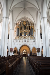 Church Aisle (yoJoebosolo) Tags: white building berlin church architecture germany wooden structure aisle organ rows ornate pew interor
