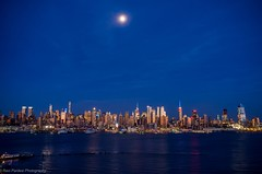 NYC Skyline with Full Moon (ravi_pardesi) Tags: nyc moon newyork water beautiful skyline night evening twilight waterfront bluesky fullmoon midtown esb empirestate serene awesomeness
