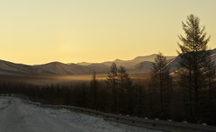 Awakening (galushchak) Tags: travel winter wild mountain mountains misty fog sunrise landscape awakening russia roadtrip explore wilderness fareast kolyma 2016 magadan explored kolymar