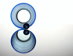 Blue Circles (Karen_Chappell) Tags: blue stilllife white abstract reflection geometric glass circle geometry circles orb sphere round marble