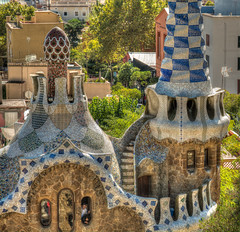 Park Gell and its amazing tile mosaics (Sorin Popovich) Tags: barcelona travel blue tourism architecture tile outdoors photography spain europe day mosaic catalonia unescoworldheritagesite gaudi individuality parkgell famousplaces traveldestinations locallandmark buildingexterior colourimage parkmanmadespace