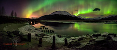 Last One (Traylor Photography) Tags: railroad bridge winter panorama mountain snow reflection ice water alaska night train dark stars wideangle anchorage northernlights auroraborealis girdwood sewardhighway lastone twentymileriver neonvolcano