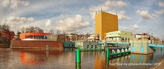 David Bowie is, Groninger Museum,Groningen ,the Netherlands,Europe (Aheroy(2Busy)) Tags: bridge building water museum architecture modern clouds fun canal colours pano wide wolken pop clear brug groningen popmusic davidbowie groningermuseum verbindingskanaal groningenstad aheroy aheroyal werkmanbrug davidbowieis davidbowieexhibition davidbowiegroningen