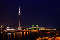 Macau Tower (Rebecca Ang (AWAY)) Tags: china lighting city bridge light urban lake tower water architecture night twilight cityscape bluehour macau thebluehour urbanarchitecture macautower saivanbridge pontesaivan rebeccaang