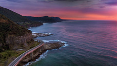 Sky Red (Jay Daley) Tags: sunrise australia nsw x5 drone seacliffbridge dji inspireonepro