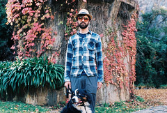 Rob and Winnie (Katie Tarpey) Tags: autumn dog film leaves 35mm kodak healesville nikonfm10 bernesemountaindog berner kodakportra400 maroondah nikkor50mm14 maroondahreservoirpark winniethebernesemountaindog