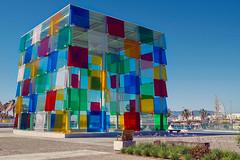 Centre Pompidou Malaga (Don Csar) Tags: espaa colors museum marina puerto spain colorful europa europe harbour colores andalucia cube museo malaga cubo rubik magiccube centropompidoudemlaga