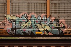 TARS (TheGraffitiHunters) Tags: auto street pink blue white black green art car train graffiti colorful paint gray tracks spray rack carrier freight tars autorack benched benching