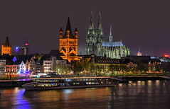 Kln before the Storm (manuelecant) Tags: panorama night river germany lights boat nikon europe cathedral towers cologne kln rhein hdr d5500