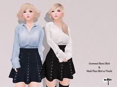 NYU - Grommet Sleeve Shirt & Mesh Flare Skirt w/ Pearls Lining (NyuNyu Kimono, NYU!) Tags: life shirt mesh skirt minimal secondlife flare second nyu pearl sleeve lining grommet fameshed