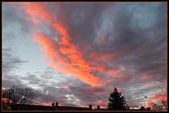 Dramatic Sky (bigbrowneyez) Tags: trees sunset sky orange ontario canada hot nature clouds amazing warm nuvole mood moody dof priceless awesome ottawa rich dramatic atmosphere natura roofs cielo frame stunning fabulous striking mystreet drama dramaticsky brilliant chimneys cornice onfire bello bellissimo
