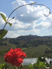 Tuscan vistas (markshephard800) Tags: old flowers italy sunlight lake flores green water clouds composition fleurs spring pond flora italia framed towers lac blumen medieval hills tuscany framing sangimignano fiori toscana geranium bloemen torres