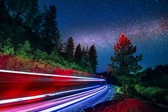 lets take a journey into the unkown (Now 2 Eternity photography) Tags: california blue trees light red sky lightpainting mountains pine night train way stars photography movement long exposure forrest fast explore galaxy le milky colfax lightpainter milkyway