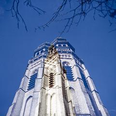 Seeing double (Wouter de Bruijn) Tags: tower 6x6 film church architecture analog zeiss mediumformat square kodak doubleexposure churchtower hasselblad squareformat middelburg 80mm 500cm ektar langejan kodakektar ektar100