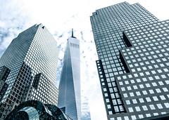 Towering above (bindermichi) Tags: city nyc sky urban usa newyork nikon skyscrapers january d800 2014 worldtradecenterone