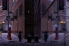 Reflection In A New Building, Front and Dock St. DUMBO (sjnnyny) Tags: nyc reflection cityscape pedestrian sidewalk brock streetsigns streetscape dumbobrooklyn nylife gentrified stevenj streetfurnishings oldfultonstreet sjnnyny dockstbrooklyn