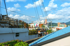 Street (donald_34) Tags: street blue roof sky cloud rooftop town downtown village sunny korea fresh laundry  gwangju