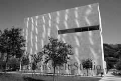 Lineation (lebensweltstudio.com) Tags: street city light shadow urban blackandwhite building monochrome lines architecture modern facade design spain cityscape shadows streetscene structure bilbao cube blueprint modernarchitecture lineation