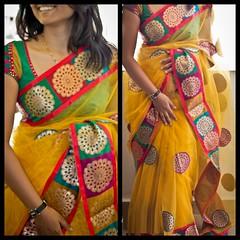 Exclusive Yellow Shimmer Net Saree (elegantfashionwear) Tags: yellow saree shimmer crape neted