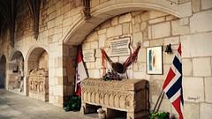 La Princesa que vino del frío (1). (lumog37) Tags: grave gothic flags bandera cloisters sepulcro gótico colegiata claustros