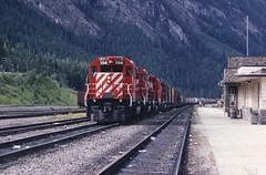 One of 486 (Hoist!Man) Tags: railroad canada film train britishcolumbia transportation locomotive canadianpacific cp freight kodachrome64 emd sd402 fieldbc