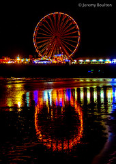 Wheely Light (JKmedia) Tags: street sea sky beach water lamp wheel festival night reflections lights pier sand waves colours power transport illuminations ferris artificial celebration electricity manmade handheld vehicle annual colourful bigwheel blackpool afterdark powered 2015 canoneos7d boultonphotography