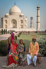 making memories (jaumescar) Tags: family portrait people india color vertical wonder four photo colorful background indian group tajmahal agra tourist elder typical garment
