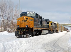 CSX 7687 and 7357 (Trains & Trails) Tags: road street winter snow cold diesel pennsylvania january engine transportation locomotive ge generalelectric autorack fayettecounty connellsville c408w 7687 darkfuture widecab yn3b q21623