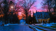 Twilight Blues! (a2roland) Tags: normanzeba2rolandyahoocoma2roland norm street scene landscape belvidere nj new jersey nature natural evening twilight blues clouds haze light flare lamp sodium trees branches leaves road cars auto car flicker flickr picture photo award house sunset sun pink magenta tint red orange © norman zeb photography all rights reserved