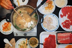 Fun-due (cookedphotos) Tags: family food cooking dinner soup raw chinese cook meat delicious pot eat chopsticks fondue plates sliced dishes hotpot broth vsco