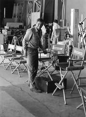 Harrison Ford, Indiana Jones and the Temple of Doom (Tom Simpson) Tags: film set vintage chair harrisonford behindthescenes indianajones templeofdoom thetempleofdoom