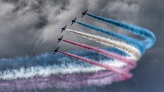 Red, White & Blue (Thank you for 4M+ views.) Tags: blue red summer sky white colors canon dark landscape eos flying team colours force display hawk smoke air jet royal overcast august formation arrows 169 bournemouth catchy vapour redarrows aerobatics 50d nickfewings