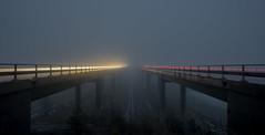 Trails to Heaven (seppala.markus) Tags: longexposure bridge light mist fog night trails lighttrails