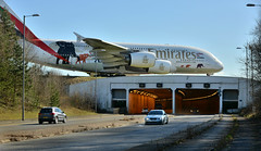 Manchester Airport tunnel (PentlandPirate of the North) Tags: jet tunnel emirates airbus elephants runway airliner jumbo manchesterairport bmwm3 nissangtr a380800 a380861 a6edg unitedforwildlife
