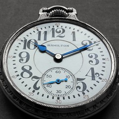 Pocketwatch by Hamilton (frankvanroon) Tags: old blue bw amazing time awesome watch hamilton timepiece numbers horloge pocketwatch watchmaker tijd horlogemaker zakhorloge