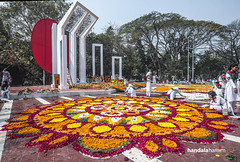 International Mother's Language Day Celebration at BANGLADESH (HamimCHOWDHURY  [Read my profile before you fol) Tags: street blue red portrait man black green yellow design women day crowd mother 21st international language february minar shahid 2016 alpona hamimchowdhury framebangladesh