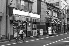 Tokyo evening (Igor Voller) Tags: street door house window girl lines bike bicycle japan shop japanese tokyo kid air front line 日本 東京 ac conditioner на 夜 дома 店 район велосипед линии девочка улица магазин ドア вечер вывеска витрина らめん линия велосипеде япония токио 晩 кондиционер разметка