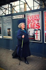 Every Body Lies, No Exceptions (Steve Lundqvist) Tags: street old uk travel portrait england woman london station hair path coat lies streetphotography traveller lie footpath inghilterra
